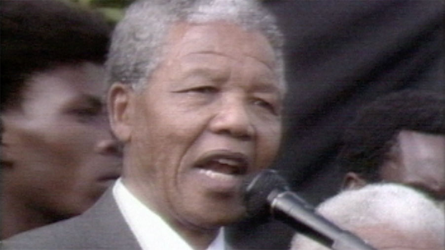 Nelson Mandela released from South African Prison